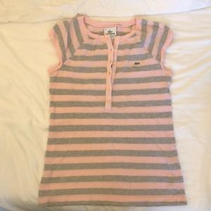 Lacoste pink button down top sz small size